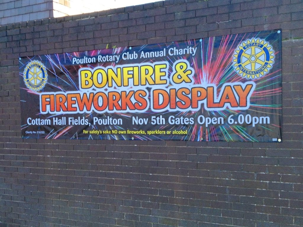 Fireworks banner on a wall