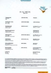 PVC AirMesh Fire Certificate