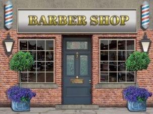 Realistic barbers dementia wall mural