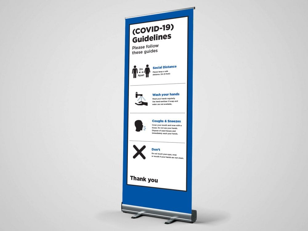 guidelines social distance roller banner