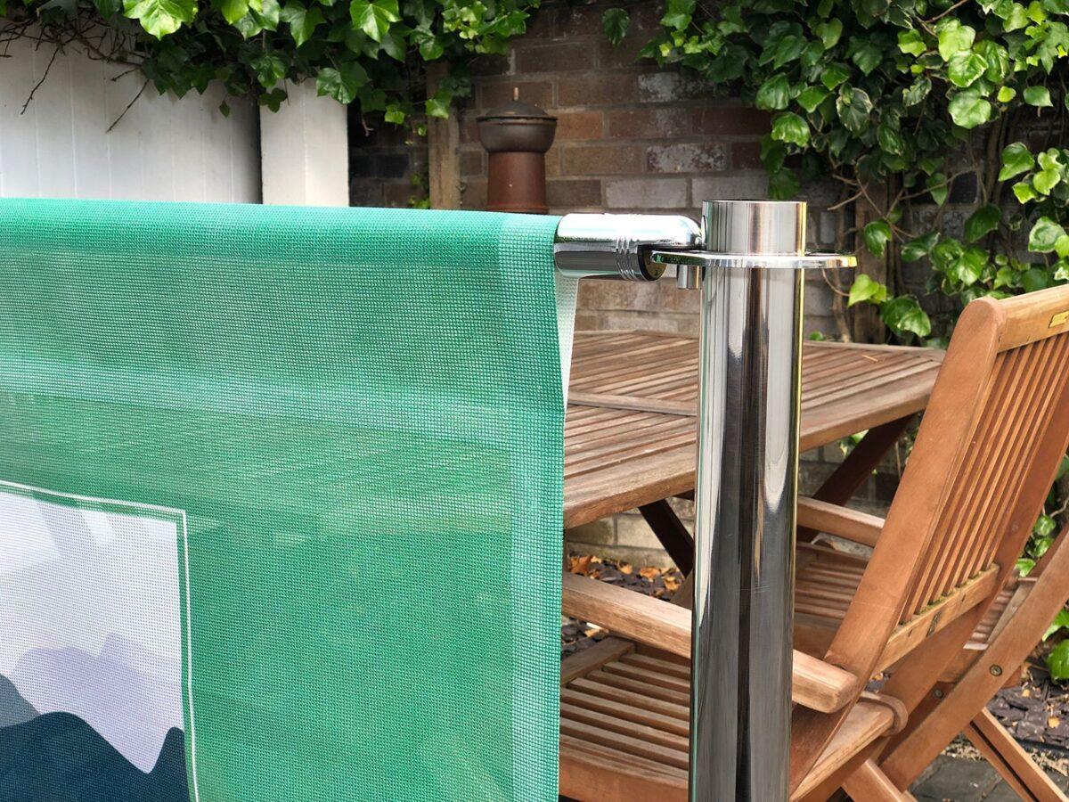 Mesh Cafe Banner for cafe barrier system in full colour