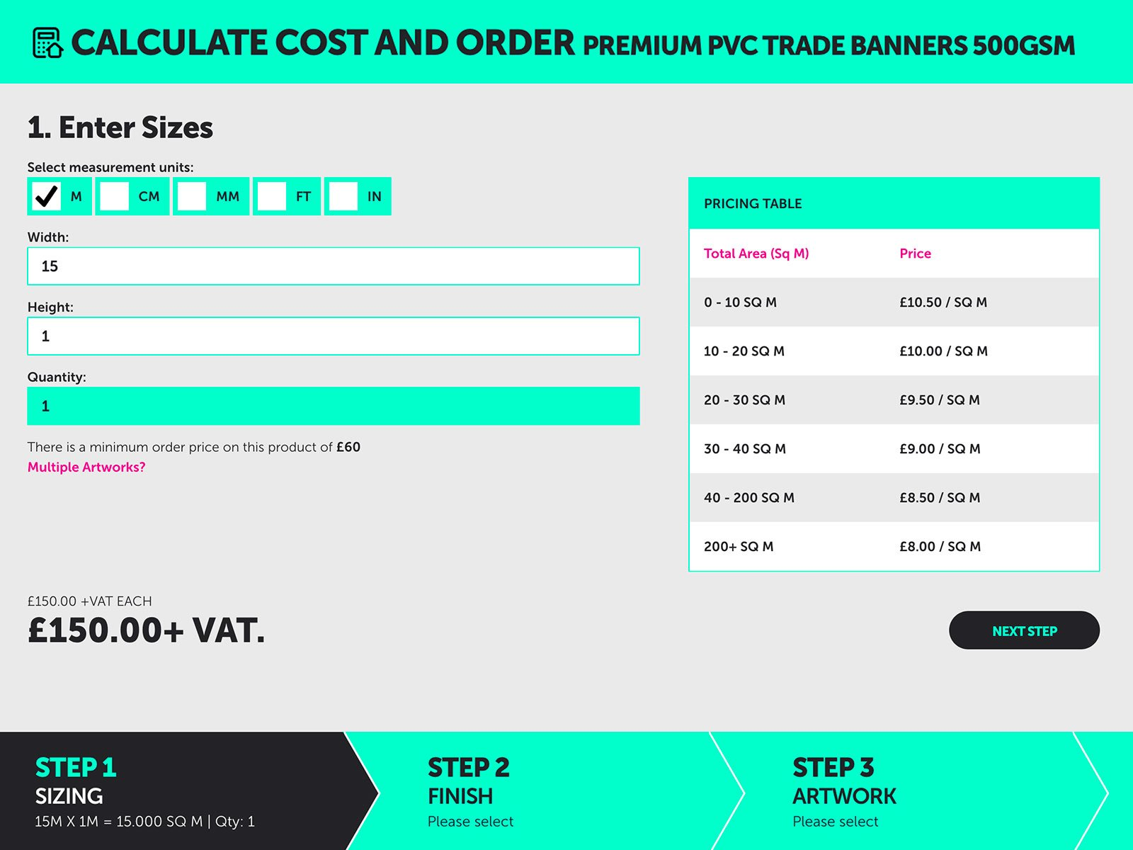Ordering multiple banners at the same size