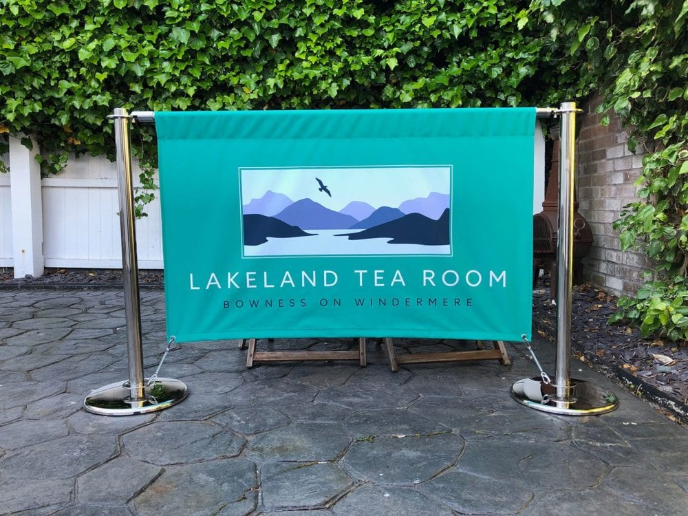 Single sided fabric oustide seating area banner