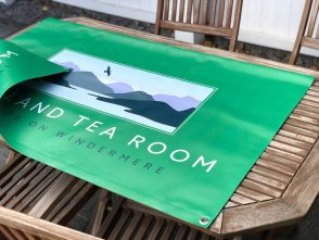 Cafe outside seating area banner