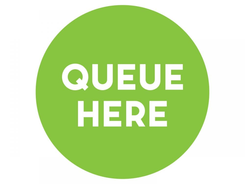 Queue-here-LIME-GREEN