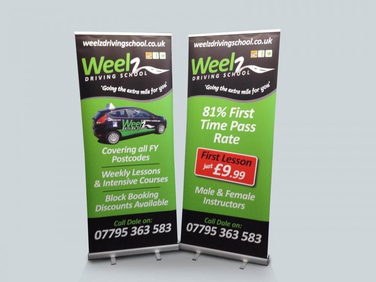Roller Banners advertising a Driving Scool