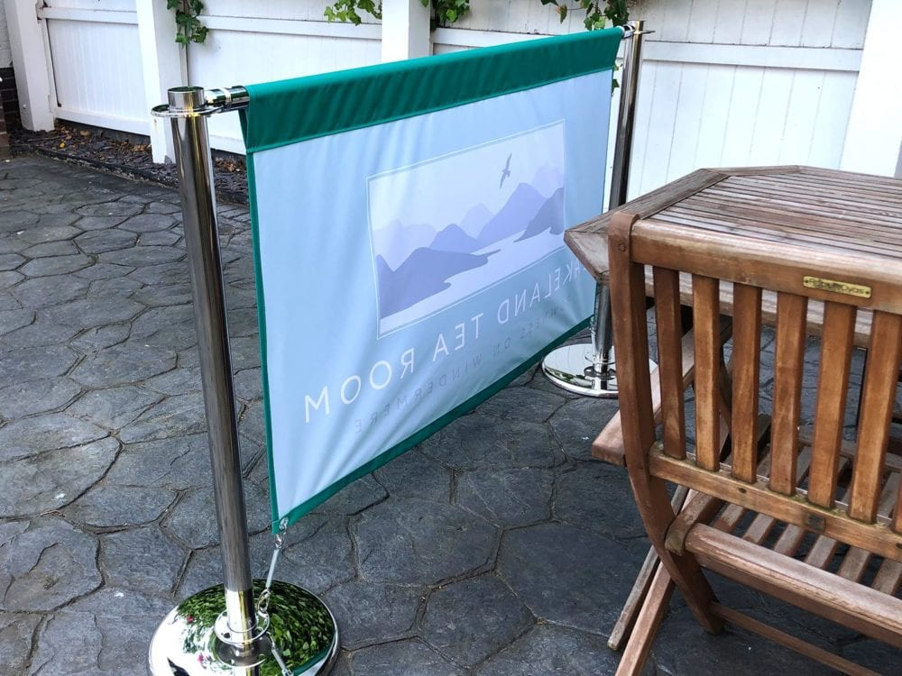 Cafe banner in fabric