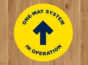 One way system floor decals