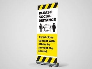 Please Social Distance Roller Banner