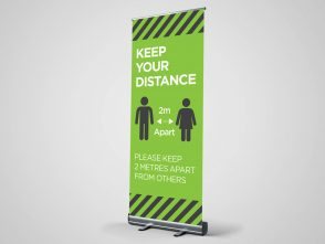 Keep Your Distance Green Roller Banner