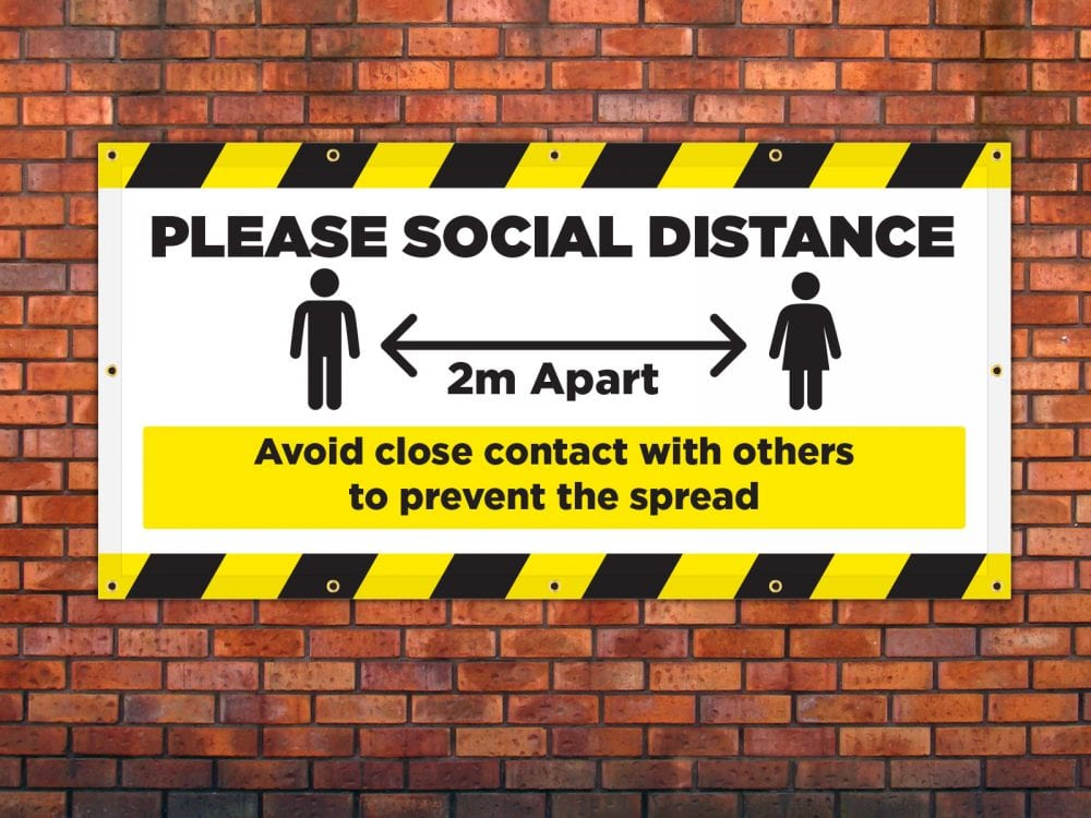 Please Social Distance Banner