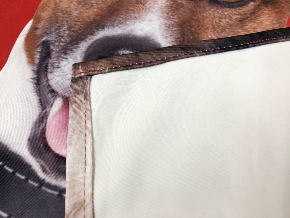 Textile backlit close up of hem