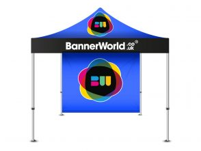 Pop up gazebo with printed wall