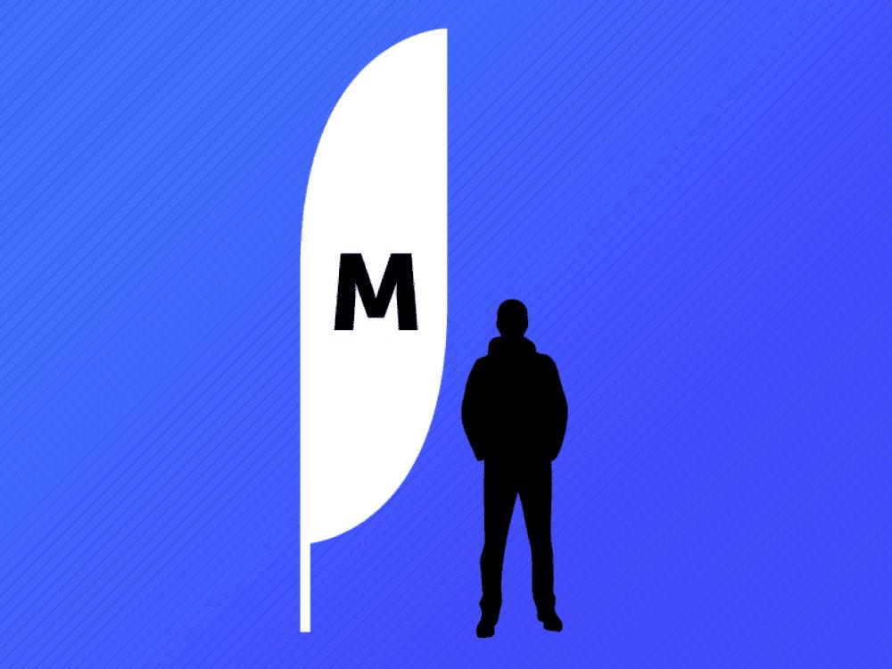 Illustration of Medium Crest Flag relative to person