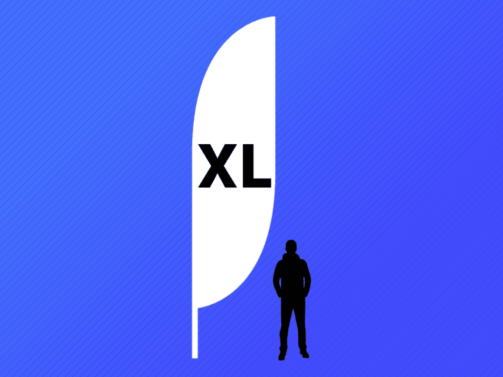 Illustration of Extra Large Crest Flag relative to person