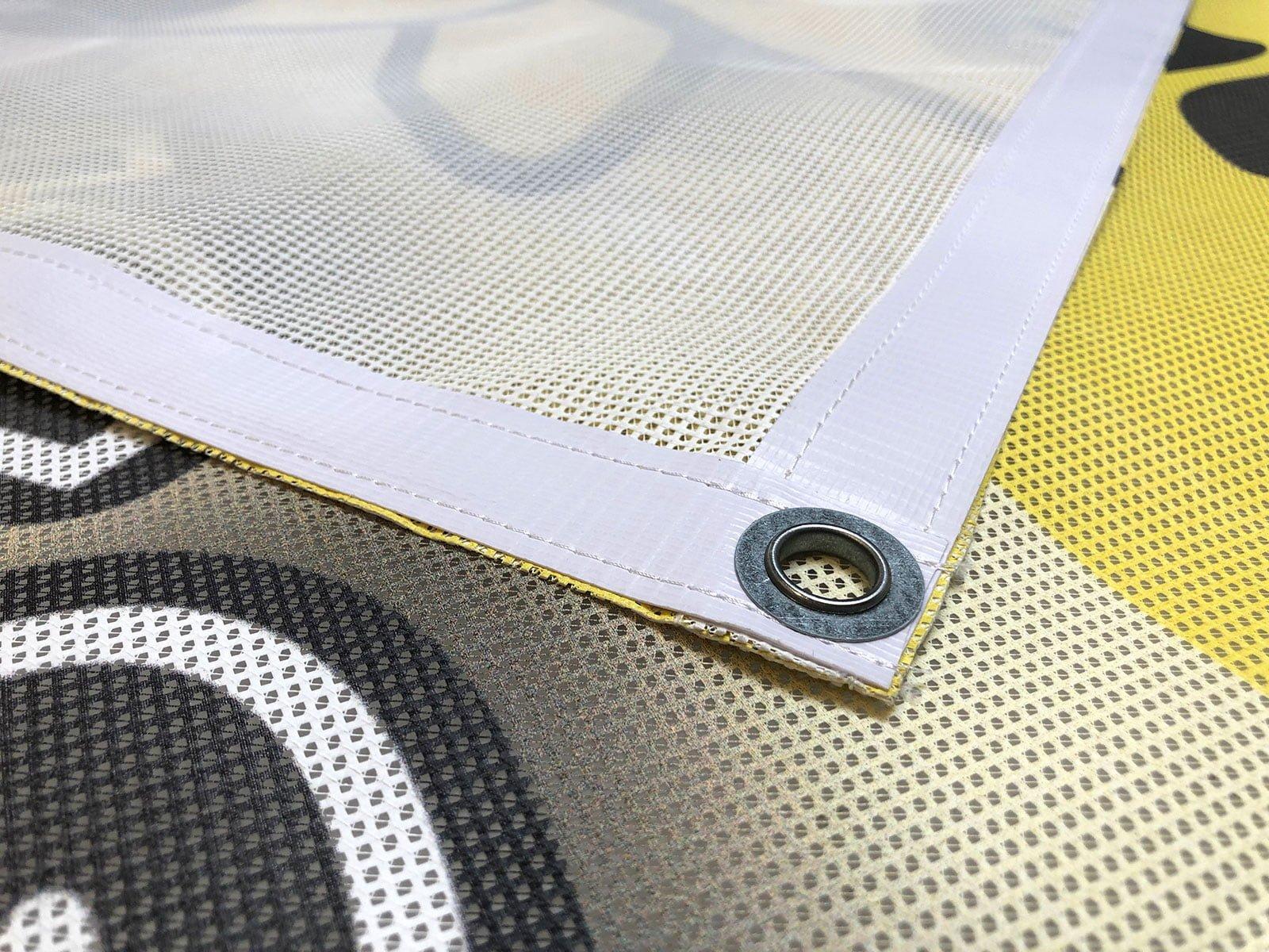 Please Come Again Nostalgia Stripes Wind-Resistant Outdoor Mesh Vinyl Banner 9x6 CGSignLab