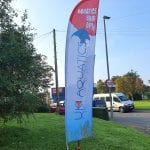 Large printed feather flag