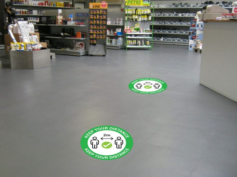 Keep Your Distance Floor Marker in store