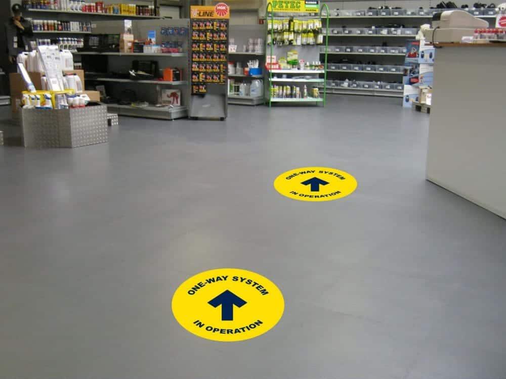 One way floor stickers
